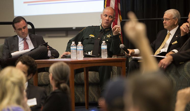 (L-R) Ben Pollara, United for care, Dr. Carlton Turner, Former Director of White House Drug Abuse Policy Office, Bob Gualtieri, Pinellas County Sheriff